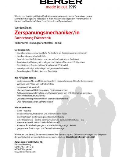 zerspanungsmechaniker - Bewerbung Zerspanungsmechaniker