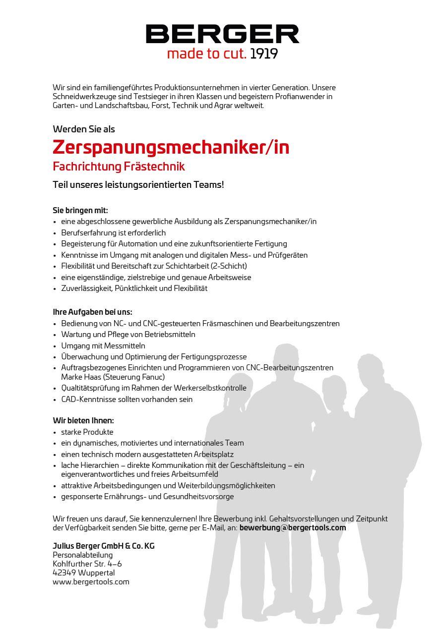 zerspanungsmechaniker - Bewerbung Als Zerspanungsmechaniker